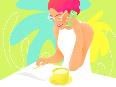 Business woman pink hair white busy eyeglasses book notebook pen pencil cup of coffee cup of tea colorfull art comics lady illustration iphone x iphone girl woman business