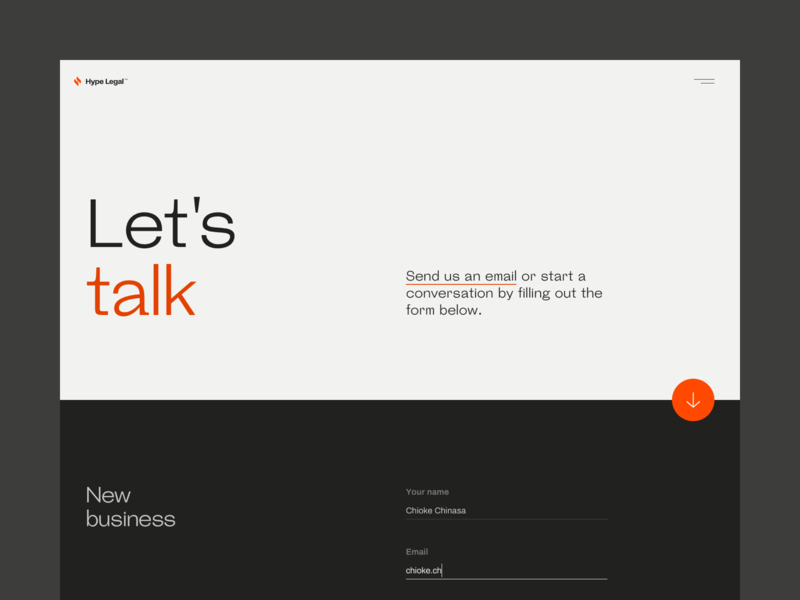 Hype Legal —Contact | Desktop digital marketing law firm contact form contact law legal design ui