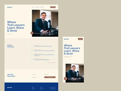 Elawvate —Home logo trial lawyer mobile desktop newsletter play podcast legal lawyer law ui ux design branding