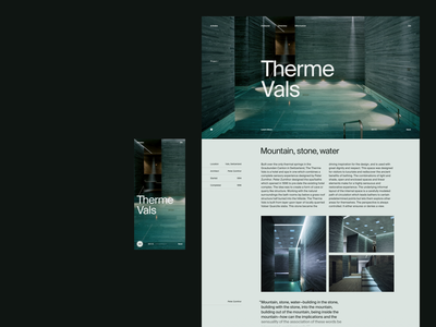 A/Index — Therme Vals architectural design photography type typography suisse intl mobile desktop directory therme vals vals grid switzerland peter zumthor architectural architecture ui