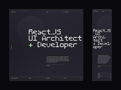 Toby Brancher —Home developer dev mobile desktop ui plus hero masthead monospace proxy mono grid typography type nav menu bristol react.js