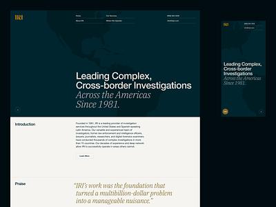 IRI —Home web design desktop mobile iri quote map grid typography hero america investigations investigative research masthead ui ux legal law