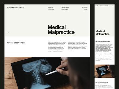 RWB — Practice Area typography type grid nav neue haas grotesk attorneys lawyers legaltech law medical masthead rwb legal miami law firm