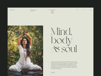 Jéssica Lopez — Intro | Desktop yoga pose meditate navbar navigation voyage hero meditation soul body mind yoga typography grid masthead desktop