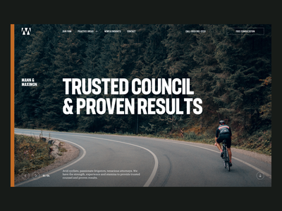 Mann & Maximon —Rejected Concept | Desktop ui desktop navbar hero navigation bar navigation typography grid web design law firm logo attorney cyclist f37 judge law firm legal cycling