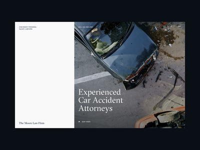 Moore Law —Rejected Concept | Desktop ui branding masthead hero attorneys navbar gt sectra typography type grid layout law firm attorney accident car legal law