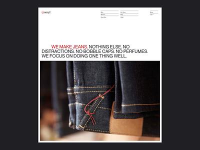 Hiut –Home   Desktop website hero hiut jeans denim web design layout desktop type design typography grid ui