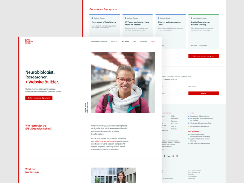 EPFL Extension School — Home | Desktop lausanne switzerland university learning hero epfl homepage home education frontend development ui ux