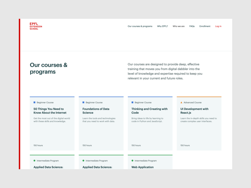 EPFL Extension School — Courses & programs | Desktop design ux ui university switzerland learning lausanne frontend development epfl education