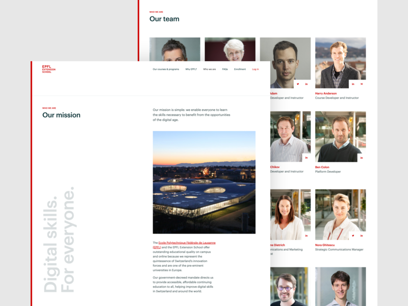 EPFL Extension School — Who we are | Desktop design ux university ui switzerland learning lausanne frontend development epfl education