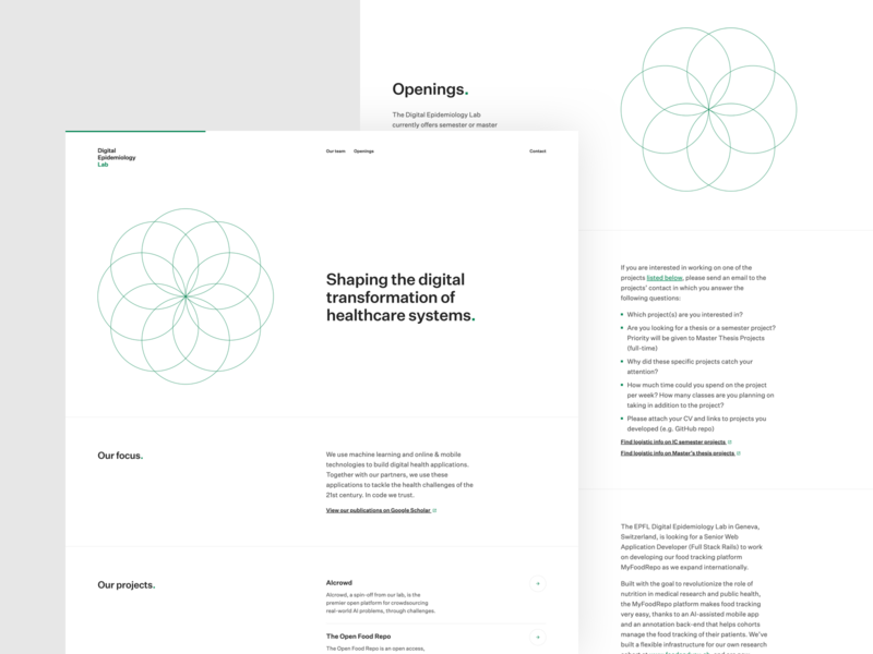 Digital Epidemiology Lab | Desktop healthcare switzerland machine learning health frontend development epfl design ux ui