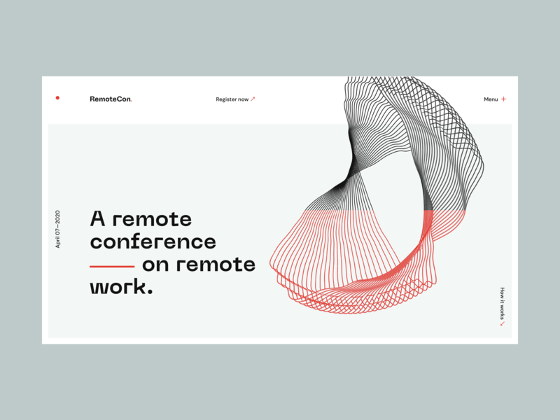 RemoteCon — Unused concept | Desktop homepage neue machina remote working remote conference hero home design ux ui