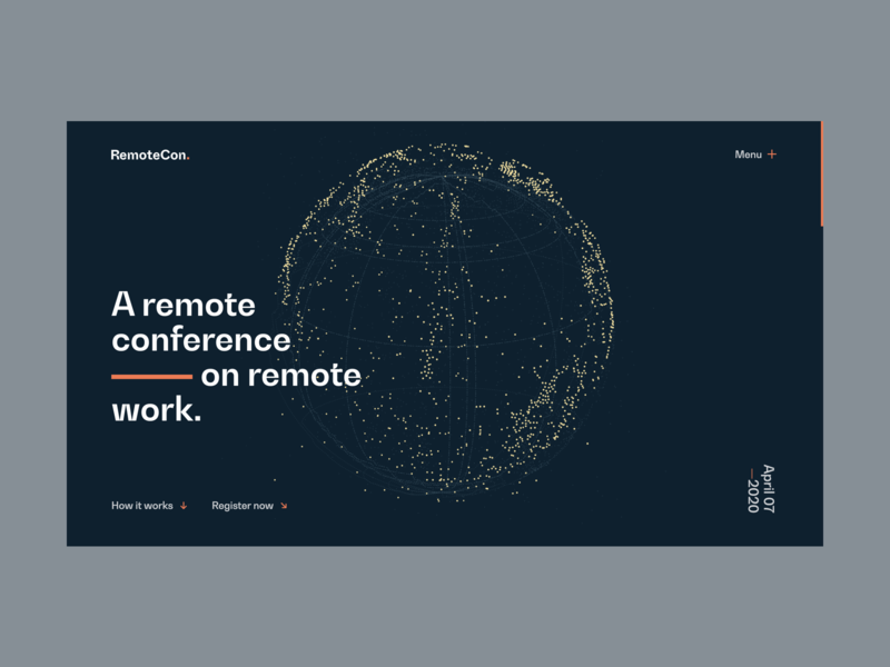 RemoteCon — Introduction | Desktop menu bw gradual remotecon switzerland branding identity remote working remote work remote conference design ux ui