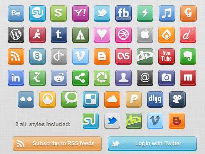 3d pixel social icons