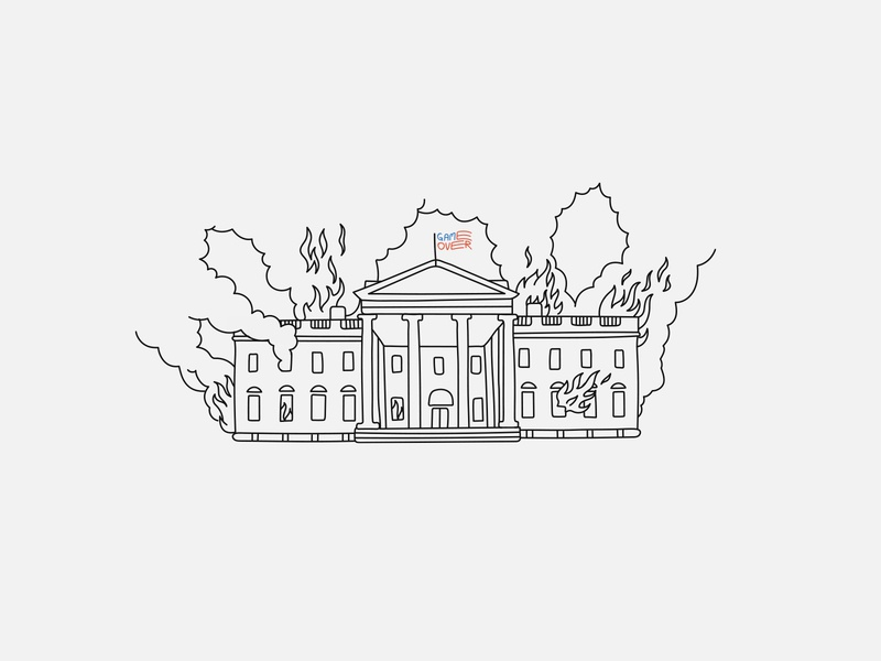 The White House on fire illustration design game over casa blanca fuego on fire house fire protest blacklivesmatter usa washington dc washington