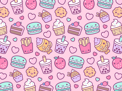 Bobalife USA character design cartoon patterns vector cute kawaii fruit pattern french fries food macaron ice cream love cake dessert bubble tea boba tea