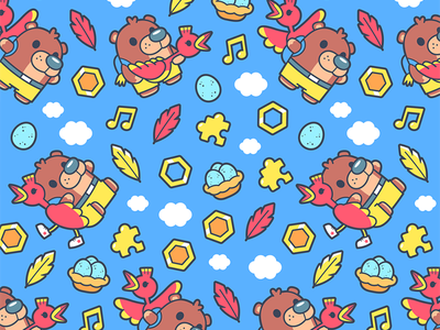 Banjo-Kazooie rare cartoon funny cute animal vector character design pattern kazooie banjo gamer gaming
