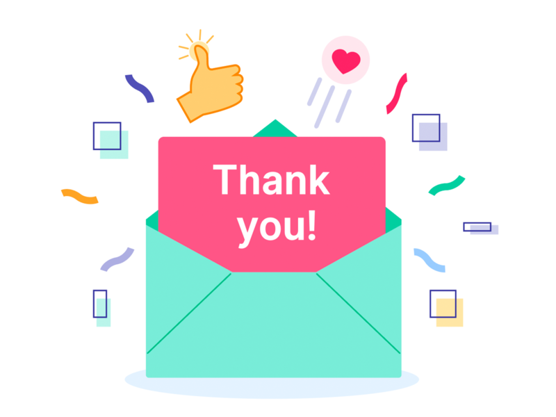💌Thank you note illustration email