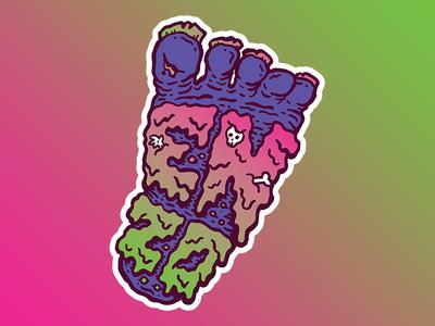 Enzo Sticker illustration bones skull slime music big foot foot sticker band