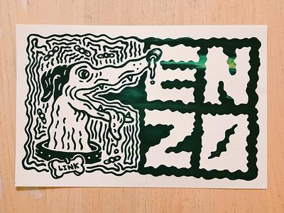 ENZO Posters illustration screen print greyhound enzo dog print band poster