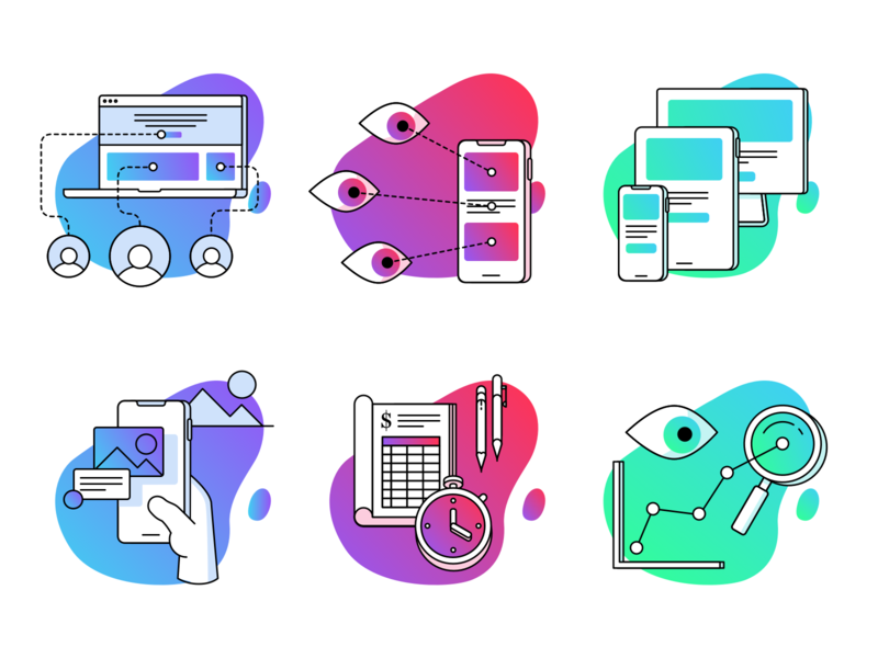 Whitelabel Landing Pages — Icons vector phone laptop services agency blobby blob gradient illustration iconography icon design iconset icons