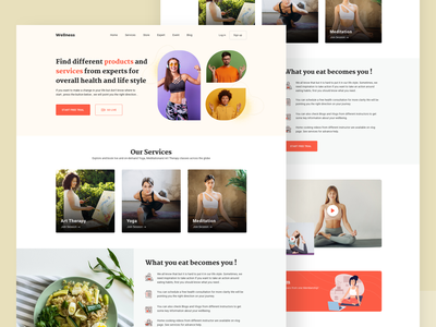 Landing Page for a Yoga & Meditation logo classes video application app design meditation exercise yoga webdesign landing page homepage
