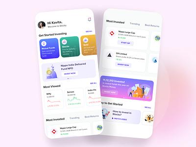 Investment Mobile App tracking portfolio mobile app branding finance listing cards mobileapp dashboard homepage stockmarket investment