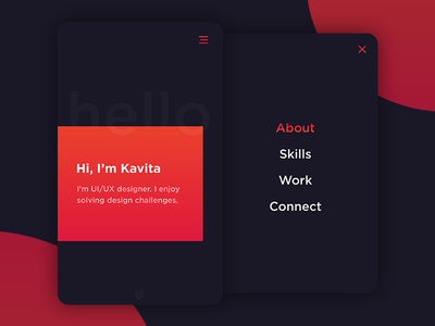 About Me mobile application ux designer designer resume bright color photoshop portfolio about me user interface