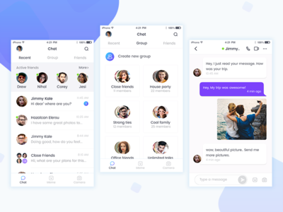 Chatting iOS App icon minimal design active user online search profile android ios group list group chat chat