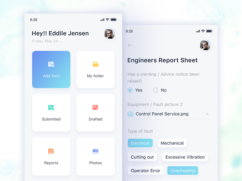 Forms Manager - Home Screen home page icons minimal ui iphonex add profile invite select forms home screen
