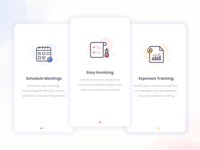 Onboarding Screens ux ui tutorial screen schedule tracking invoice iconography walkthrough screen pagination icons mobile app onboarding