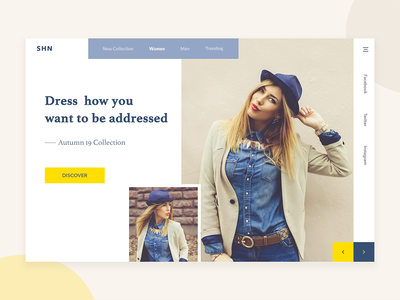 SHN Fashion Store slides shopping invite ux design ui interface design webdesign banner clean  creative style fashion homepage ecommerce