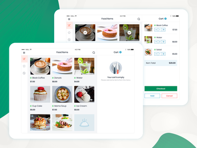 iPad - POS Food App minimal app typography design user interface design order mobile app food app checkout cart pos home page null screen ipad food