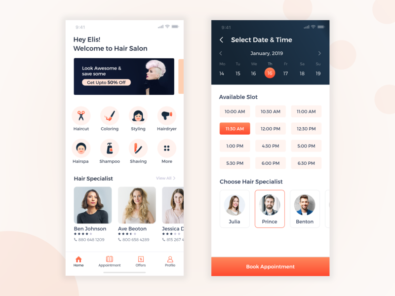 Hair Salon - Mobile Application booking appointment ux user interface minimal design date picker time picker calendar home category adobe xd xd beauty salon typography icons design