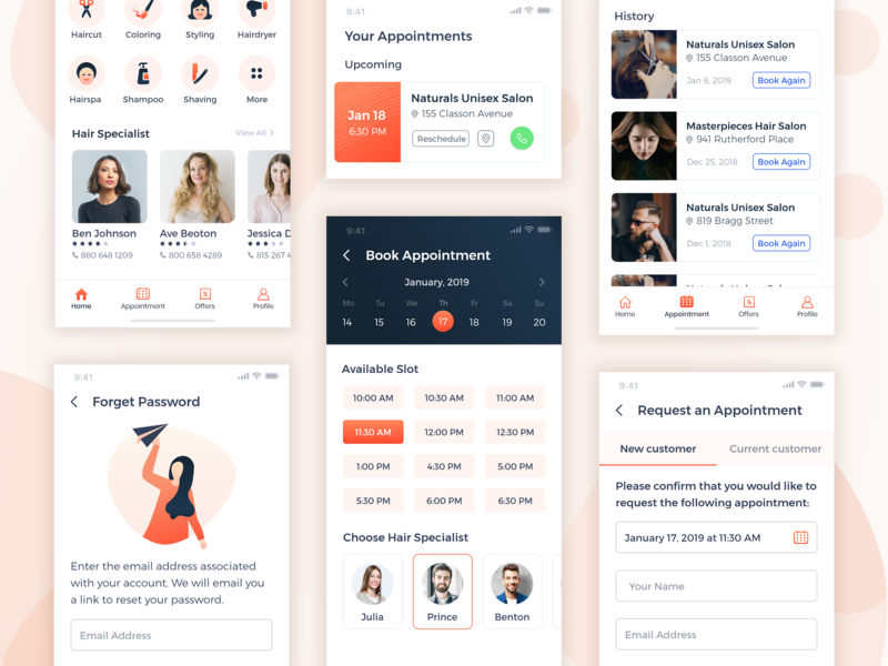 Hair Salon - Mobile Application adobe xd app design typography art iconography mnimal design list bookiing appointment calendar haircut signup login forgot password mobile typography illustration booking