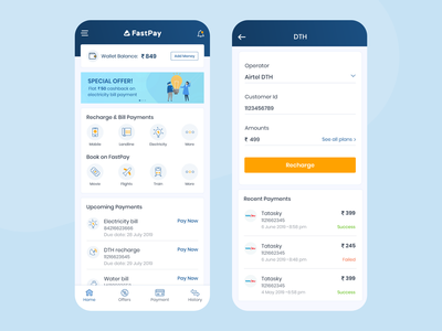 Online Payment Application illustration offer wallet ux ui typographic graphc mobile app minimal design cards history forms mobile recharge recharge dth design payments home page app payment