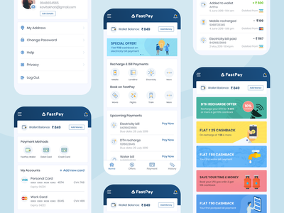 Online Payment Application vector ux ui transfer bill payment iconography logo design minimal cards listing graphic wallet password history home page add card card offers mobile app payment app