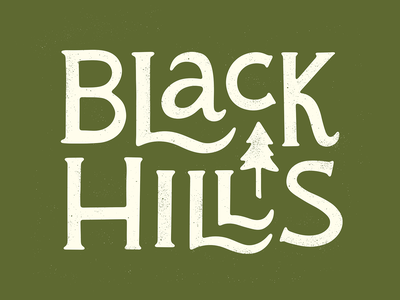 Black Hills typography type travel tourism south dakota outdoors midwest letters lettering pine tree laurophyll illustration hand lettering hand drawn explore black hills art adventure