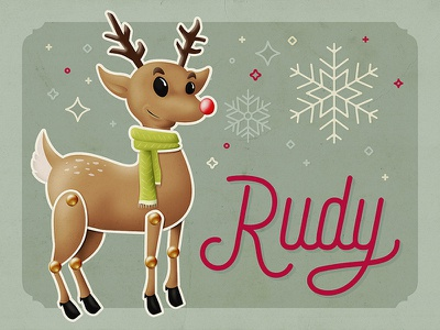 Rudy reindeer holidays christmas hand lettering lettering illustration design character