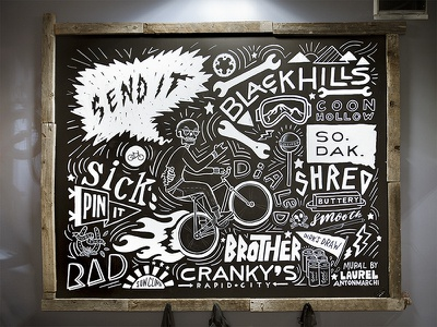 Cranky's Bike Shop wheelie south dakota skeleton shred send it rad mountain biking hand lettering chalkboard black hills black and white bicycle