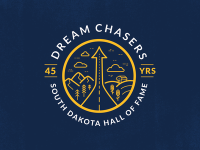 South Dakota Hall of Fame farm black hills mark road highway dream clouds illustration landscape badge south dakota