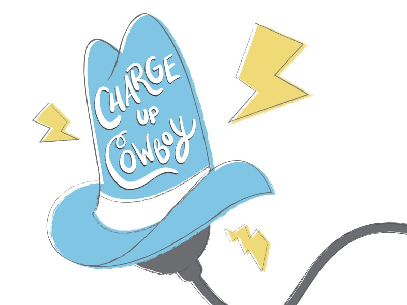 Charge Up Cowboy concept color lettering type vector charge cowboy illustration