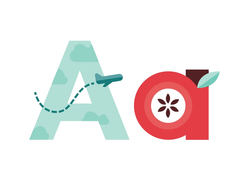 A is for... letterforms illustration illustrate apple airplane a