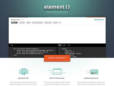 ElementCSS Home Page web design layout element css elementcss developer tool application rails rumble home page home