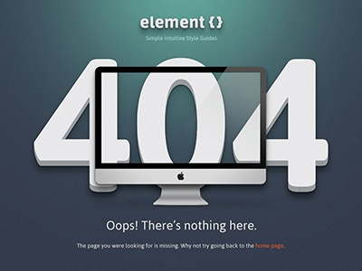 ElementCSS 404 Page 404 web page single page error