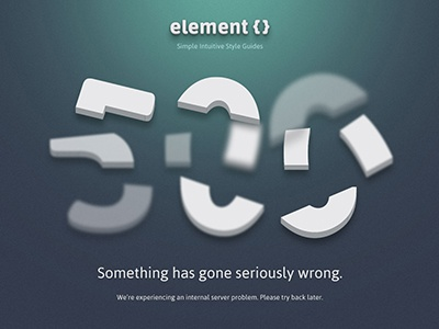ElementCSS 500 Page 500 server error web page single page layout