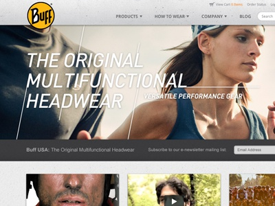 Buff Home Page sports athletic slideshow shop shopping e-commerce