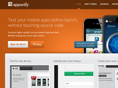 Appurify Landing Page mobile application landing page layout apps