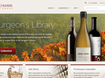 Benchmark Concept 1 wine e-commerce layout simple clean neutral warm