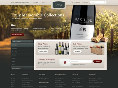 Benchmark Concept 2 wine e-commerce layout layers warm vineyard